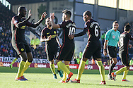 Manchester City players celebrate making it 1-1 during the Premier League match between Burnley and Manchester City at Turf Moor, Burnley, England on 26 November 2016. Photo by Pete Burns.