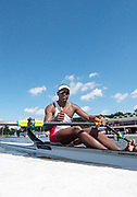 Poznan,  POLAND,  Thursday, 16/06/2016.  Men's Single Scull, CUB M1X Angel FOURNIER RODRIGUEZ, boating area FISA World Cup III, Malta Lake.[Mandatory Credit; Peter SPURRIER/Intersport-images]