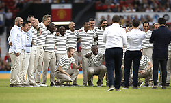 Team World XI pose for a photo prior to the UNICEF Soccer Aid match at Old Trafford, Manchester.