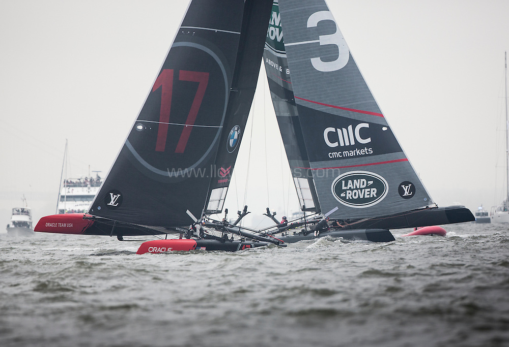 New York,  USA - May 8:  Day 1 of racing on the Hudson River. The Louis Vuitton Americas Cup World Series in New York <br /> (Photo by Lloyd Images/Getty Images)