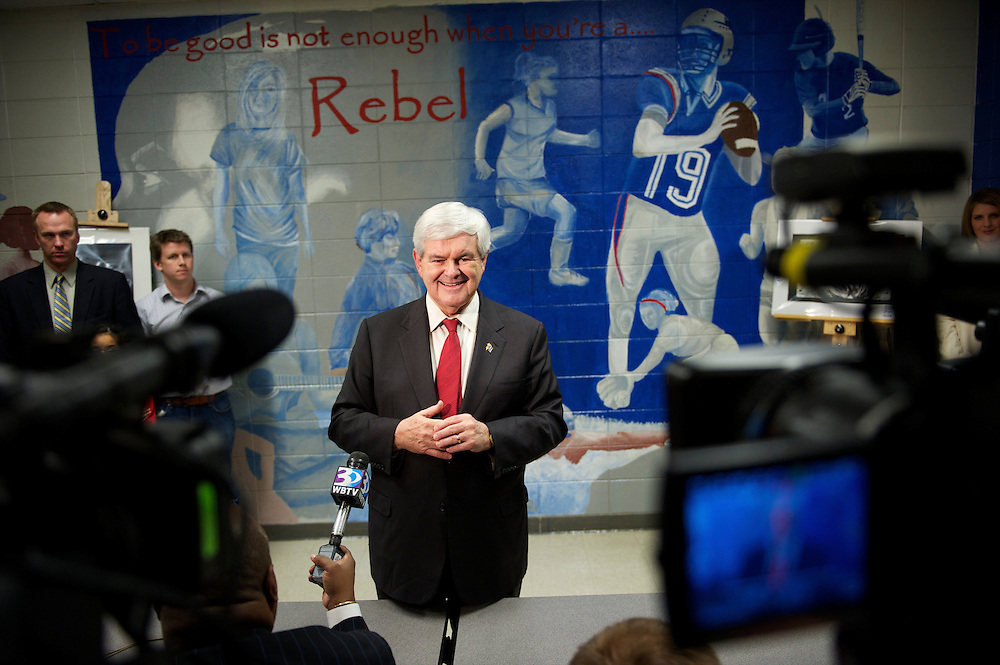 Republican Presidential candidate NEWT GINGRICH speaks to the media after  participating in a Presidential Forum along with Rick Santorum at Byrnes High School.  The South Carolina primary will be held on January 21st.