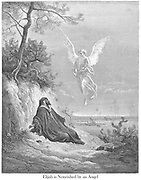 Elijah Nourished by an Angel 1 Kings 19:5-6 From the book 'Bible Gallery' Illustrated by Gustave Dore with Memoir of Dore and Descriptive Letter-press by Talbot W. Chambers D.D. Published by Cassell & Company Limited in London and simultaneously by Mame in Tours, France in 1866