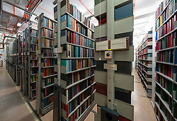 Interior of book storage floor of the National Library of Scotland in Edinburgh.