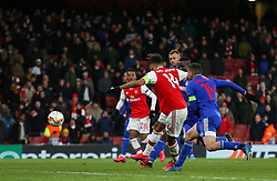 Pierre-Emerick Aubameyang of Arsenal misses a late chance to score - Mandatory by-line: Arron Gent/JMP - 27/02/2020 - FOOTBALL - Emirates Stadium - London, England - Arsenal v Olympiacos - UEFA Europa League Round of 32 second leg