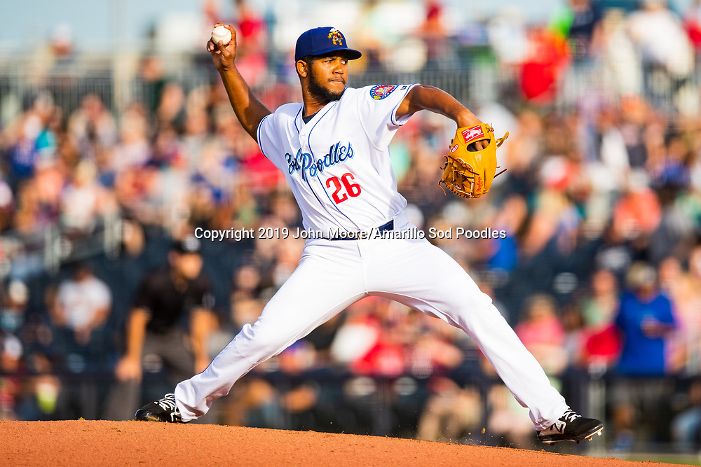 Amarillo Sod Poodles pitcher Emmanuel Ramirez (26) pitches against the Frisco RoughRiders on Tuesday, June 4, 2019, at HODGETOWN in Amarillo, Texas. [Photo by John Moore/Amarillo Sod Poodles]
