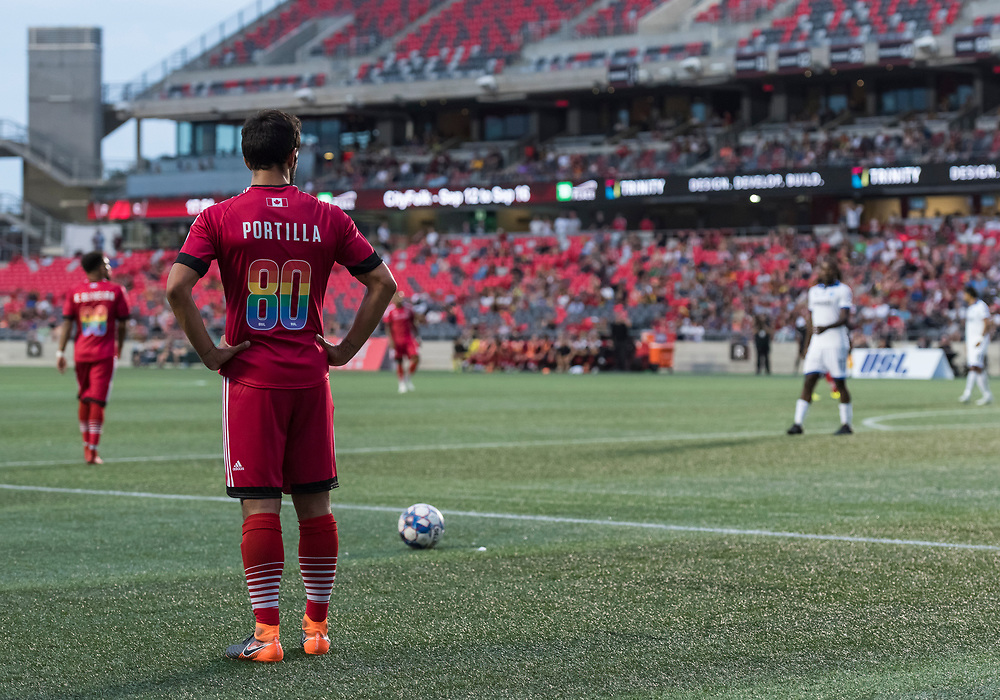 OTTAWA, ON - AUGUST 25: USL match between the Ottawa Fury FC and Penn FC at TD Place Stadium in Ottawa, ON. Canada on August 25, 2018.<br /> <br /> PHOTO: Steve Kingsman/Freestyle Photography for Ottawa Fury FC