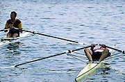 FISA World Cup 1990's, at Lucerne International Regatta, Lake Rotsee, Lucerne SWITZERLAND and Henley Royal Regatta..GER M1X Thomas Lange - Former DDR athlete.right and Vaclav Chulupa CZE M1X .FISA World cup events Lucerne and HRR Pictures from the first World Cup events, Men's and Women's singles 1990/91 FISA World Cup Lucerne and
