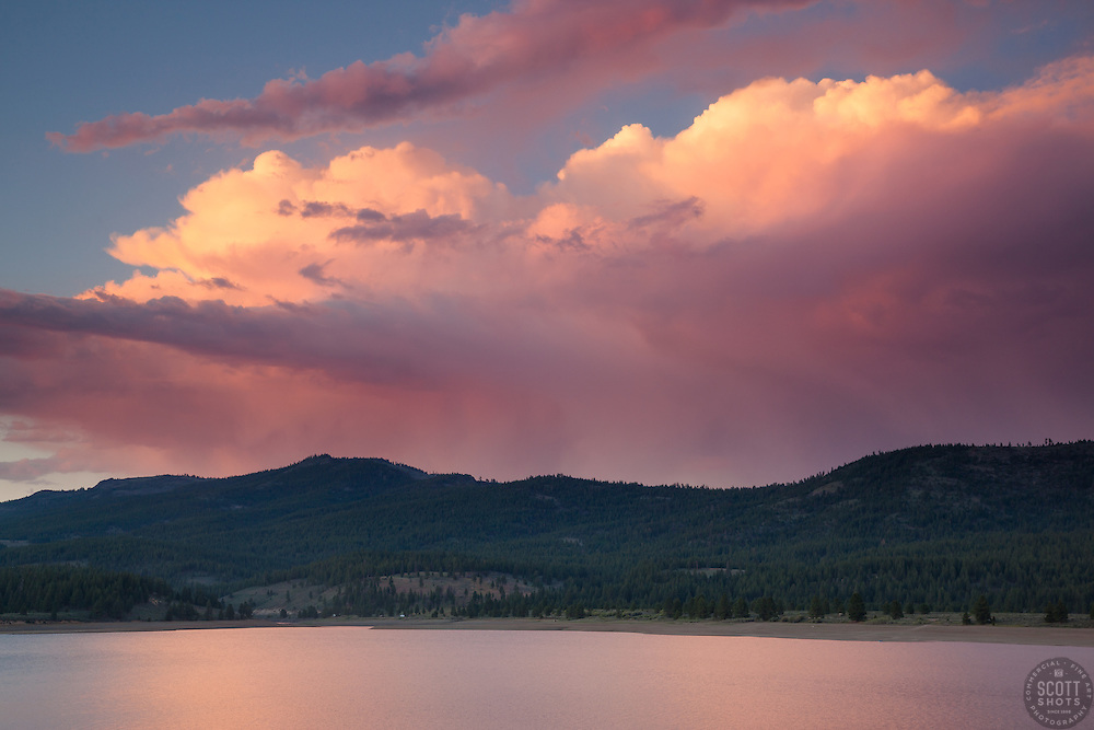 """""""Sunset at Boca Reservoir 5"""" - This colorful purple cloud was photographed during sunset at Boca Reservoir near Truckee, California."""