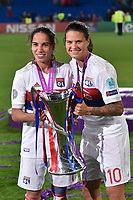 Amel Majri of Olympique Lyon and Dzsenifer Marozs·n of Olympique Lyon celebrate the victory during the UEFA Women's Champions League Final between Lyon Women and Paris Saint Germain Women at the Cardiff City Stadium, Cardiff, Wales on 1 June 2017. Photo by Giuseppe Maffia.<br /> <br /> <br /> Giuseppe Maffia/UK Sports Pics Ltd/Alterphotos