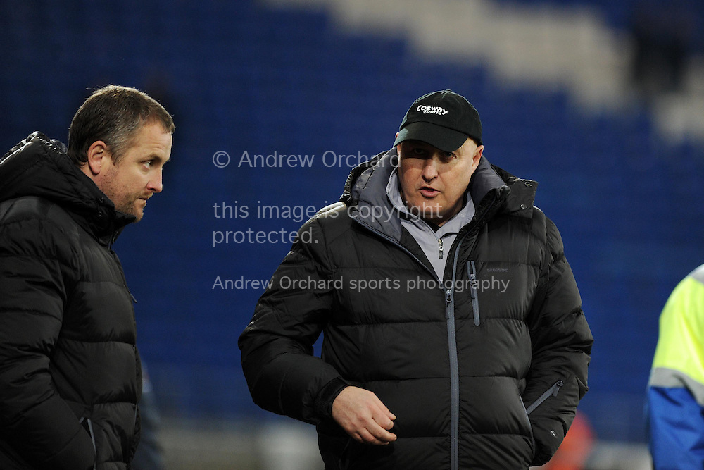 Cardiff city manager Russell Slade looks on dejected at end of the match after his team can only draw 0-0. Skybet football league championship match, Cardiff city v Brighton & Hove Albion at the Cardiff city Stadium in Cardiff, South Wales on Tuesday 10th Feb 2015.<br /> pic by Andrew Orchard, Andrew Orchard sports photography.