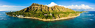 Panoramic aerial view of Diamond Head Lighthouse, Honolulu, Oahu, Hawaii, USA