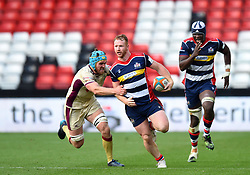 Will Hurrell of Bristol Rugby is tackled by Alex Shaw of Doncaster Knights - Mandatory by-line: Paul Knight/JMP - 22/10/2017 - RUGBY - Ashton Gate Stadium - Bristol, England - Bristol Rugby v Doncaster Knights - B&I Cup