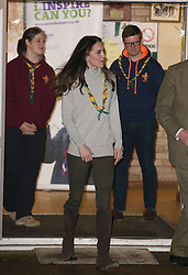 The Duchess of Cambridge leaves The Scout and Guide Hut at North Wootton, near King's Lynn, after attending an event to celebrate the to celebrate 100 years of the Cub Scout movement.