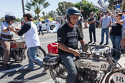 3,400 miles from the Atlantic to the Pacific - The journey is over. Doug Feinsod of California riding his 1913 Thor crosses the finish line of the Motorcycle Cannonball Race of the Century. Stage-15 ride from Palm Desert, CA to Carlsbad, CA. USA. Sunday September 25, 2016. Photography ©2016 Michael Lichter.