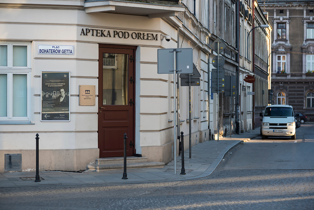 Krakow, Poland - August 26, 2016: Entrance to Eagle Pharmacy, operated by Tadeusz Pankiewicz during WWII when this area was part of the Podgórze Jewish ghetto. Today it is a museum, remembering the horrors of the ghetto and also the moral courage of Tadeusz Pankiewicz and his staff.