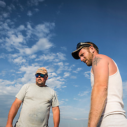7th generation fisherman Jim Wotton, president of the Friendship Lobster Co-op, and his sternman Ryan Schultz, in Friendship, Maine.
