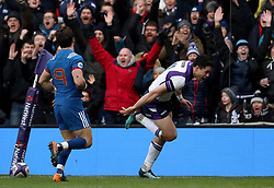 Scotland's Sean Maitland (right) scores his side's first try of the game during the NatWest 6 Nations match at BT Murrayfield, Edinburgh.