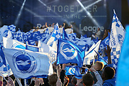 Brighton flags with players on stage during the Brighton & Hove Albion Football Club Promotion Parade at Brighton Seafront, Brighton, United Kingdom on 14 May 2017. Photo by Phil Duncan.