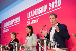 © Licensed to London News Pictures. 01/02/2020. Bristol, UK. EMILY THORNBERRY, KIER STARMER, LISA NANDY at the Labour Party Leadership Hustings, at Ashton Gate Stadium. Candidates: Emily Thornberry, Lisa Nandy, Kier Starmer, Rebecca Long-Bailey. Photo credit: Simon Chapman/LNP.
