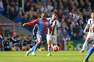 Jason Puncheon of Crystal Palace and Claudio Yacob of West Bromwich Albion compete for the ball. Barclays Premier League match, Crystal Palace v West Bromwich Albion at Selhurst Park in London on Saturday 3rd October 2015.<br /> pic by John Patrick Fletcher, Andrew Orchard sports photography.
