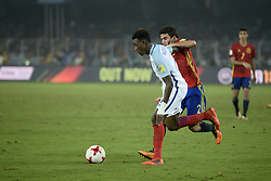 October 28, 2017 - Kolkata, West Bengal, India - England Callum Hadson-Odoi (jersey 14) and Spain Mateu Jaume(jersey 2) in actions the FIFA U 17 World Cup India 2017 Final match in Kolkata. Player of England and Spain in action during the FIFA U 17 World Cup India 2017 Final match on October 28, 2017 in Kolkata. England wins FIFA U 17 World Cup 5 - 2 goals against Spain. (Credit Image: © Saikat Paul/Pacific Press via ZUMA Wire)