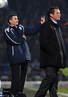 Photo: Ashley Pickering/Sportsbeat Images.<br /> Ipswich Town v West Bromwich Albion. Coca Cola Championship. 01/01/2008.<br /> West Brom manager Tony Mowbray (L) watches his side go down to Jim Magilton's (R) Ipswich