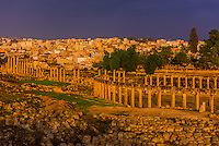 Oval plaza and colonnaded street, Greco-Roman ruins, Jerash, Jordan.