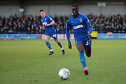 AFC Wimbledon defender Paul Osew (37) dribbling down the wing during the EFL Sky Bet League 1 match between AFC Wimbledon and Fleetwood Town at the Cherry Red Records Stadium, Kingston, England on 8 February 2020.