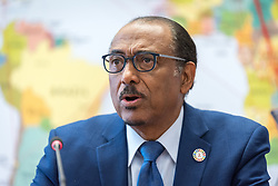 21 February 2019, Geneva, Switzerland: UNAIDS executive director Michel Sidibé visits the Ecumenical Centre in Geneva. On 20-21 February, PEPFAR, UNAIDS, the World Council of Churches and the International Catholic Migration Commission host a workshop on HIV among migrants and refugees. The aim of the workshop is to identify a roadmap for strengthening faith-based organizations' engagement in collaboration with other sectors, expanding the role of faith-based organizations in addressing HIV risk and providing services to migrants and refugees.