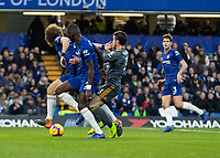 Football - 2018 / 2019 Premier League - Chelsea vs. Leicester City<br /> <br /> David Luiz (Chelsea FC)  and Antonio Rudiger (Chelsea FC)  combine to block the run of Ben Chilwell (Leicester City) at Stamford Bridge <br /> <br /> COLORSPORT/DANIEL BEARHAM