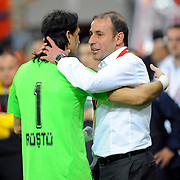 Istanbul BB's coach Abdullah AVCI (R) during their Turkey Cup final match Besiktas between Istanbul BB at the Kadir Has Arena at Kayseri Turkey on wednesday, 11 May 2011. Photo by TURKPIX