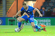 Callum Camps is fouled during the The FA Cup 1st round match between Rochdale and Gateshead at Spotland, Rochdale, England on 10 November 2018.