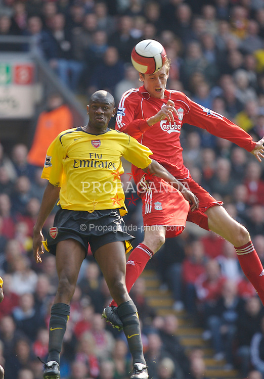 Liverpool, England - Saturday, March 3, 2007: Liverpool's Peter Crouch rises above Arsenal's Abou Diaby to score his second goal during the Premiership match at Anfield. (Pic by David Rawcliffe/Propaganda)
