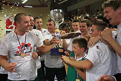 Celebration of Union Olimpija (Marko Milic, Jasmin Hukic, Sasa Doncic, Goran Dragic, Jan Mocnik, Miha Zupan) after fourth (last) final match of UPC Telemach league and Slovenian  National Championship  between KK Helios Domzale, Domzale and Union Olimpija, Ljubljana, Slovenia, on June 7, 2008, in Komunalni center hall in Domzale. Match was won by Union Olimpija 84:60 and Olimpija became National Champion 2007/2008 fourteen times in history of Slovenia. (Photo by Vid Ponikvar / Sportal Images)