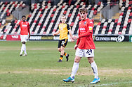 Salford City's Robbie Gotts (24) in action during the EFL Sky Bet League 2 match between Newport County and Salford City at Rodney Parade, Newport, Wales on 16 January 2021.