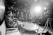 Y-600422G-12. Senator John Kennedy arrival at Portland Airport. Press conference. April 22, 1960 35mm