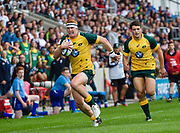 Australia centre Campbell Magnay runs in for an early score during the World Rugby U20 Championship 5rd Place play-off  match Australia U20 -V- New Zealand U20 at The AJ Bell Stadium, Salford, Greater Manchester, England on Saturday, June  25  2016.(Steve Flynn/Image of Sport)
