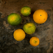 Oranges are laid out in front of Radhika's door.