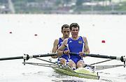 Poznan, POLAND.   2004 FISA World Cup, Malta Lake Course.  <br /> <br /> Fri. morning from the start pontoon<br /> FRA LM 2- Bow Franck Solorosi and Franck Bussiere.<br /> 09.05.2004<br /> <br /> [Mandatory Credit:Peter SPURRIER/Intersport Images]