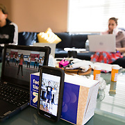 Spencer had to record and upload a time-lapse of his workout for his virtual Physical Education class while Erin worked from the couch after suffering a painful pinched-nerve overnight.