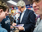 08 JANUARY 2020 - DES MOINES, IOWA: JOHN KERRY, former Secretary of State for President Obama, Democratic presidential nominee in 2004, and surrogate for Joe Biden talks to voters after a Biden campaign event in Des Moines Wednesday. Vice President Biden's surrogates are touring Iowa this week to support Biden's candidacy for the US Presidency. Iowa hosts the first presidential selection event of the 2020 election cycle. The Iowa caucuses are on February 3, 2020.         PHOTO BY JACK KURTZ