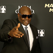 """Christopher """"Big Black"""" Boykin is seen on the red carpet prior to the Mayweather versus Maidana boxing match at the MGM Grand hotel on Saturday, May 3, 2014 in Las Vegas, Nevada.  (AP Photo/Alex Menendez)"""