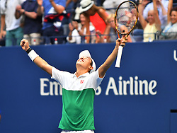September 5, 2018 - Flushing Meadow, NY, U.S. - FLUSHING MEADOW, NY - SEPTEMBER 05:  Kei Nishikori (JPN) celebrates defeating Marin Cilic (CRO) in the quarter final of the Men's Singles Championships at the US Open on September 05, 2018, played at the Billie Jean King Tennis Center in Flushing Meadow, NY. (Photo by Cynthia Lum/Icon Sportswire) (Credit Image: © Cynthia Lum/Icon SMI via ZUMA Press)