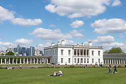 © Licensed to London News Pictures 27/05/2021. Greenwich, UK. Blue sky above Greenwich Park in London today as the sunny weather returns for the weekend. Photo credit:Grant Falvey/LNP