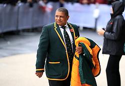 South Africa's coach Allister Coetzee arrives for the Autumn International match at Twickenham Stadium, London.