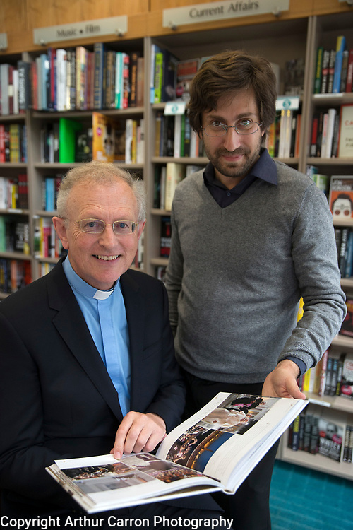 2/7/15 Fr Michael Collins and photographer Roldofo Felici at his book launch on Grafton Street, Dublin. Picture:Arthur Carron
