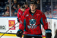 KELOWNA, CANADA - MARCH 16: Ethan Ernst #19 of the Kelowna Rockets skates in warm-ups prior to the game against Vancouver Giants on March 16, 2019 at Prospera Place in Kelowna, British Columbia, Canada.  (Photo by Marissa Baecker/Shoot the Breeze)