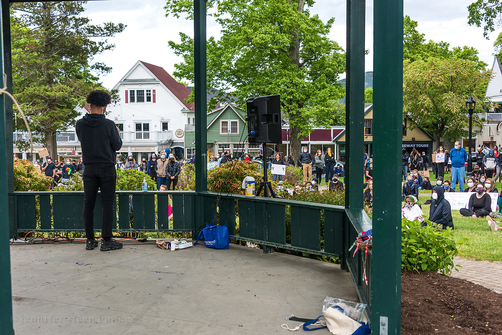 Bar Harbor, Maine, USA. 7 June, 2020. Charlie Parker, a student at Mount Desert Island High School, speaks at the MDI March and Rally In Solidarity with Black Lives Matter.