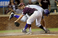 TCU's Luken Baker (19) is called safe at home after a wild pitch as Texas A&M's Brigham Hill (15) looks for the call during the 5th inning of a NCAA college baseball super regional tournament game, Friday, June 10, 2016, in College Station, Texas. (AP Photo/Sam Craft)