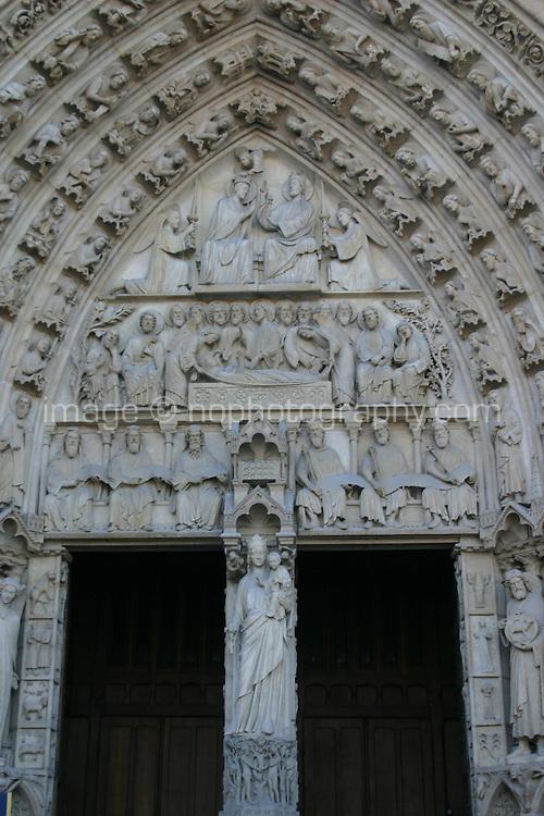 Entrance to Notre-Dame cathedral, Paris, France<br />